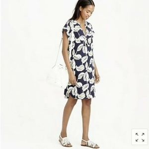 J.Crew Shift Dress Tropical Frond Floral Blue S
